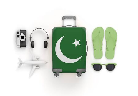 Pakistan flag suitcase and travel accessories lay flat. 3D Render