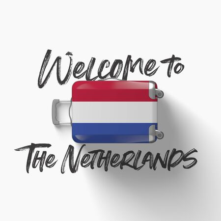 Welcome to The Netherlands. national flag on a travel suitcase. 3D Render