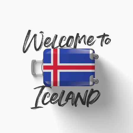 Welcome to Iceland. national flag on a travel suitcase. 3D Render Stockfoto