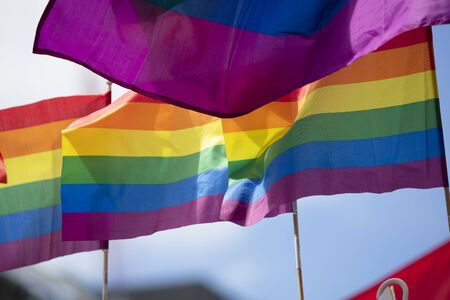 A LGBT gay pride rainbow flag being waved at a pride community celebration event Stok Fotoğraf