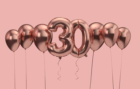 30th birthday pink balloon background. Happy Birthday. 3D Rendering Reklamní fotografie