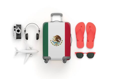 Mexico flag suitcase and travel accessories lay flat. 3D Render