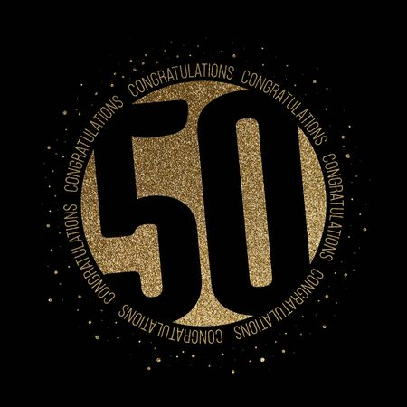 Congratulations number 50 birthday anniversary glitter circle design