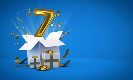 Number 7 exploding from a birthday present gift box. 3D Render Reklamní fotografie