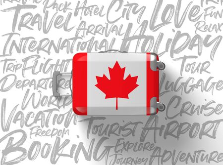 Canada flag suitcase travel background. 3D Render