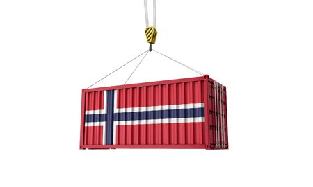 Norway flag cargo trade container hanging from a crane. 3D Render Reklamní fotografie