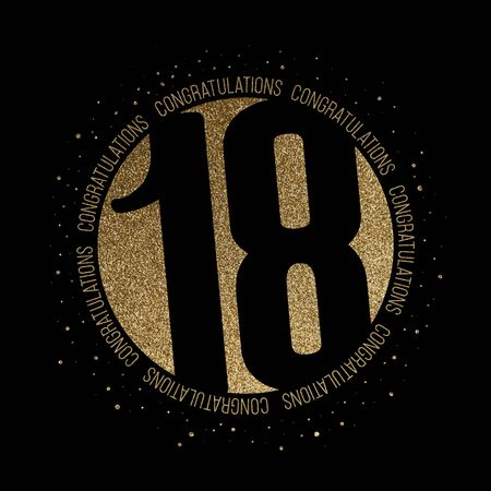 Congratulations number 18 birthday anniversary glitter circle design