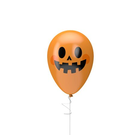 Halloween balloon with spooky face. Happy halloween decotation. 3D Render