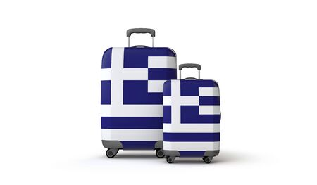 Greece flag holiday destination travel suitcases isolated on white. 3D Render Stockfoto