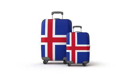 Iceland flag holiday destination travel suitcases isolated on white. 3D Render Stockfoto