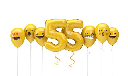Number 55 yellow birthday emoji faces balloons. 3D Render