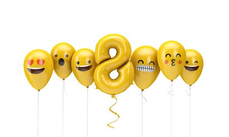 Number 8 yellow birthday emoji faces balloons. 3D Render