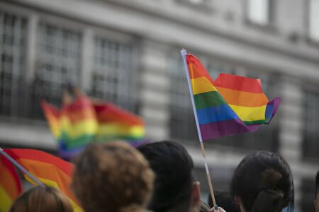 A spectator waves a gay rainbow flag at an LGBT gay pride march in London Stok Fotoğraf