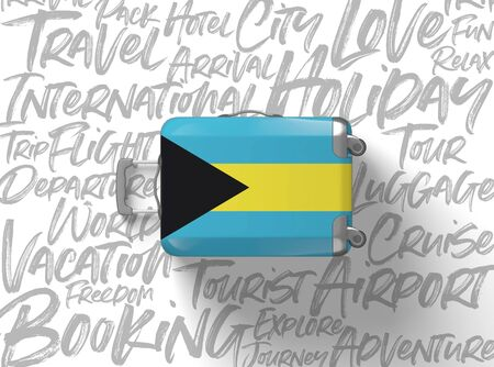 Bahamas flag suitcase travel background. 3D Render