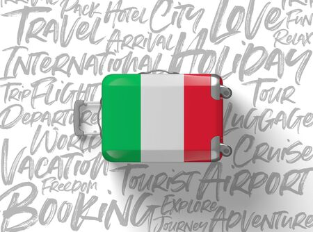 Italy flag suitcase travel background. 3D Render