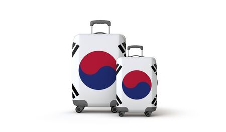 South Korea flag holiday destination suitcases isolated on white. 3D Render