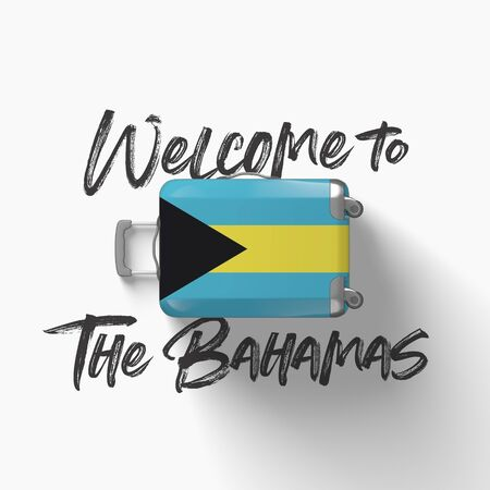 Welcome to Bahamas. national flag on a travel suitcase. 3D Render