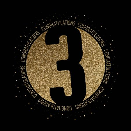 Congratulations number 3 birthday anniversary glitter circle design