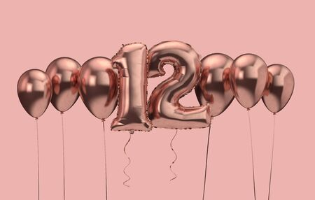 12th birthday pink balloon background. Happy Birthday. 3D Rendering Reklamní fotografie - 131352908