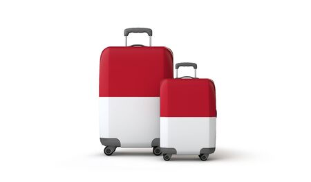 Indonesia flag holiday destination travel suitcases isolated on white. 3D Render Stockfoto