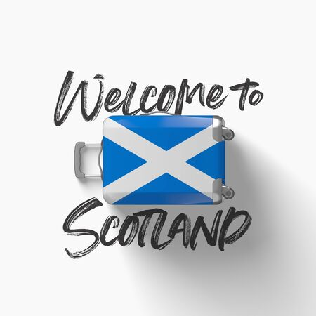 Welcome to Scotland. national flag on a travel suitcase. 3D Render