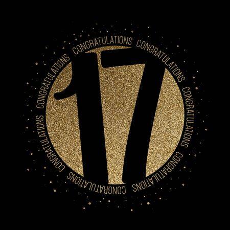 Congratulations number 17 birthday anniversary glitter circle design