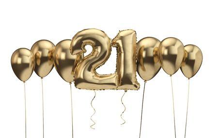 21st birthday gold balloon background. Happy Birthday. 3D Rendering