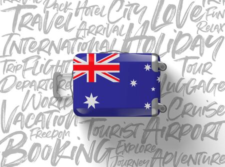 Australia flag suitcase travel background. 3D Render