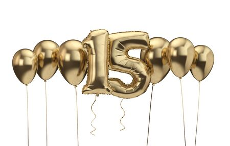 15th birthday gold balloon background. Happy Birthday. 3D Rendering