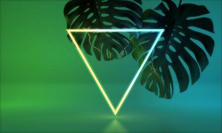 Glowing neon light with tropical monstera leaf. 3D Render Standard-Bild - 131352809