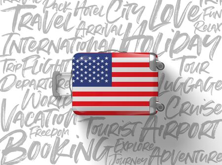 USA flag suitcase travel background. 3D Render