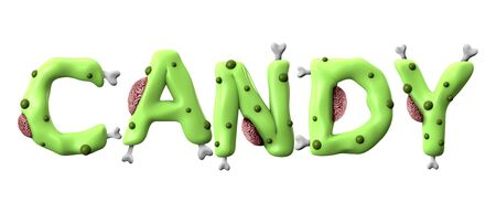 Candy halloween word made from green zombie lettering