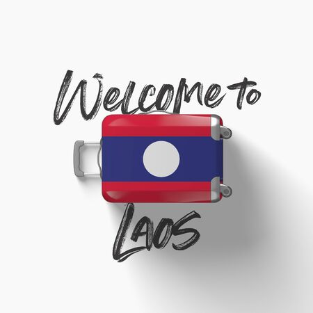 Welcome to Laos. national flag on a travel suitcase. 3D Render