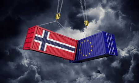 Norway and europe trade war concept. Clashing cargo containers. 3D Render