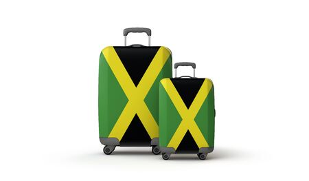 Jamaica flag holiday destination travel suitcases isolated on white. 3D Render Stockfoto