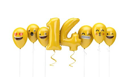 Number 14 yellow birthday emoji faces balloons. 3D Render Archivio Fotografico - 131352766