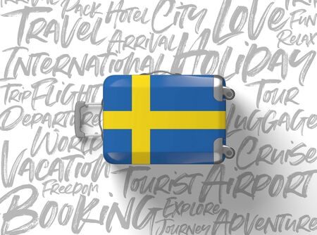 Sweden flag suitcase travel background. 3D Render