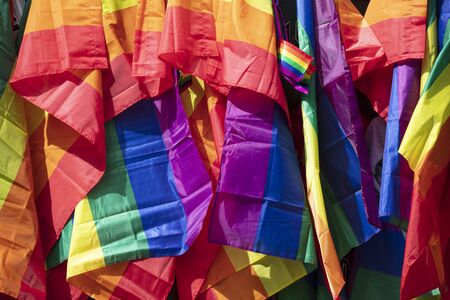 A collection of LGBTQ rainbow flags Stok Fotoğraf