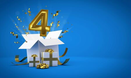 Number 4 exploding from a birthday present gift box. 3D Render Reklamní fotografie - 131352729