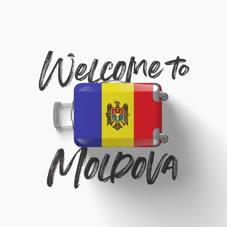 Welcome to Moldova. national flag on a travel suitcase. 3D Render