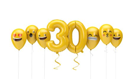 Number 30 yellow birthday emoji faces balloons. 3D Render Reklamní fotografie
