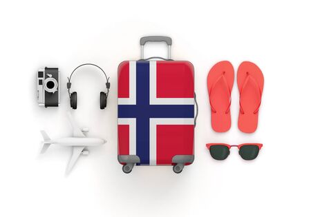 Norway flag suitcase and travel accessories lay flat. 3D Render Reklamní fotografie