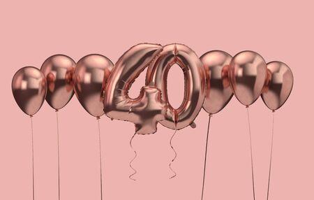 40번째 생일 핑크 풍선 배경입니다. 생일 축하. 3D 렌더링