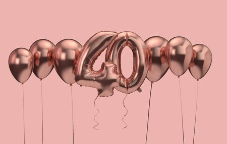 40th birthday pink balloon background. Happy Birthday. 3D Rendering