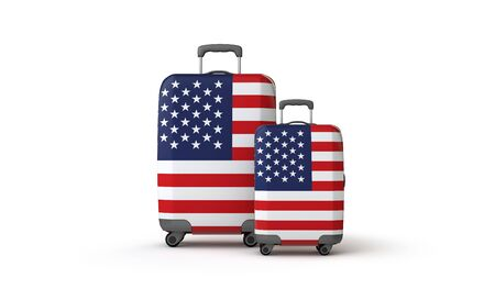 USA flag holiday destination travel suitcases isolated on white. 3D Render