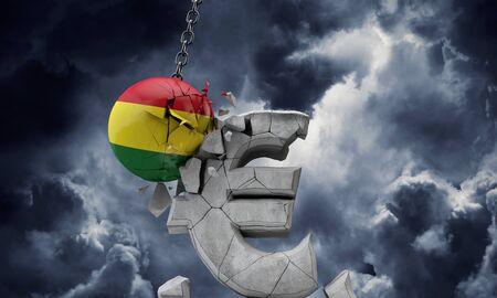 Bolivia flag ball smashing a European Euro currency symbol. 3D Render