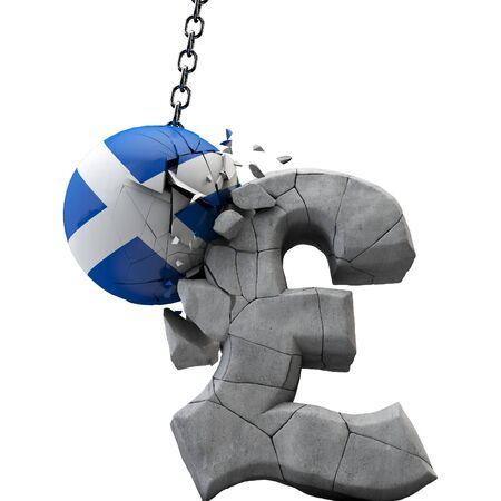 Scotland ball smashing a pound sterling symbol. UK economy. 3D Render