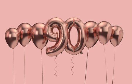 90th birthday pink balloon background. Happy Birthday. 3D Rendering Banco de Imagens