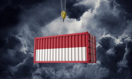 Indonesia trade cargo container hanging against dark clouds. 3D Render