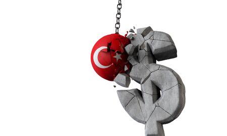 Turkey flag ball smashing a USA dollar currency symbol. 3D Render